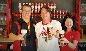 Cedar Springs brewing staff includes (from L to R): Director of Happiness, David Ringler; Benevolent Overlord of Brewing, Matt Peterson; and Fräulein Brewster, Manda Geiger.
