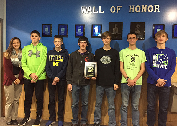 (L to R): Coach Danielle Davies, Collin Bishop, Dawson Ingersoll, Ethan Lehman, James Hofstra, Les Miner and Dawson Armstrong. Not pictured team member is Ken Roesner.