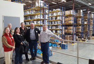 Cedar Springs City Councilors Rose Powell, Dan Clark, Molly Nixon, Perry Hopkins, Mayor Gerald Hall and Display Pack President Vic Hansen on a recent tour of Display Pack.