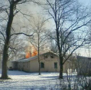 This home in Nelson Township was deemed a total loss after Monday's fire. Photo byTami Cain.