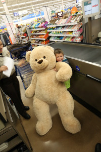 This little boy picked out a bear that's bigger than he is! Photo courtesy of the Kent County Sheriff Department.