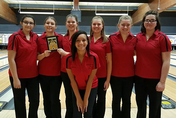 Lady Red Hawk bowlers (L to R): Alexa Thompson, Breanna Feikema, Sarah Galloway, Omani Morales, Michayla Paige, Katelyn Paige, and Rose Baty.