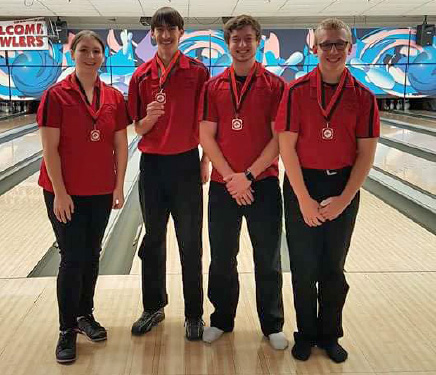 Red Hawk Bowlers Breanna Feikema, Josh Hamilton, Trevor Ruark, and Dugan Conely were among the top 10 bowlers at their own invite at the Westgate bowling alley December 17.