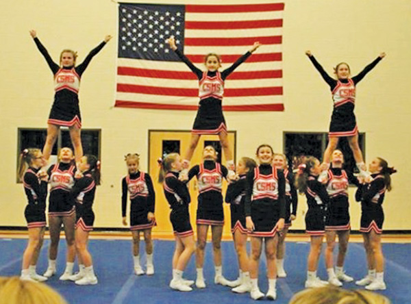 The Cedar Springs Red Hawks middle school cheer team took first place at a conference meet at the middle school last week.