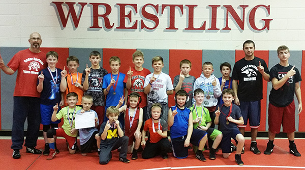 The Cedar Springs Youth Wrestling club competed in the Falcon Claw Classic last weekend. Photo by J. Troupe.