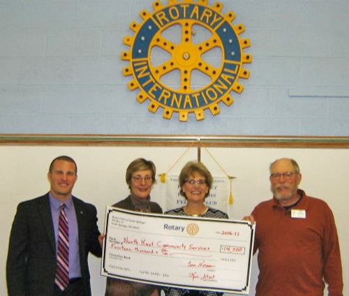 Rotary grant presentation to North Kent Service Center with Jason Parker, Kim Burge-Stout, Claire Guisfredi,  and Tom Noreen.