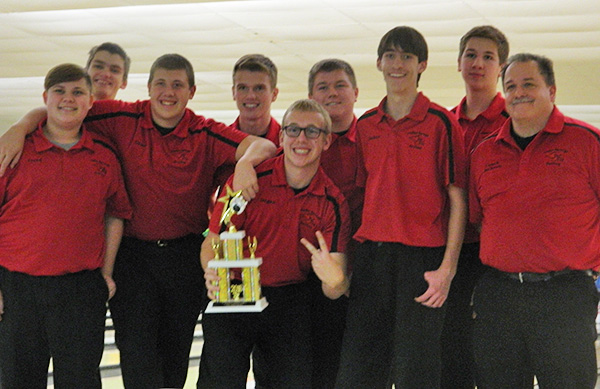 Red Hawk boys bowling team took 2nd place in a baker tournament at Park Center Lanes. Left to right Jared Caniff, Brayden Harper, Dane Conely, Jonah Drake, Dugan Conely, Jared Liggett, Josh Hamilton, Kaleb Fisk, Coach Tim Jackson.