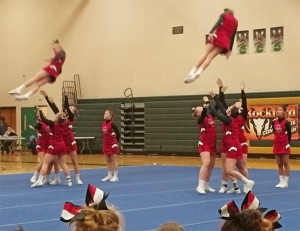 The Cedar Springs JV Competitive Cheer team at Comstock Park.