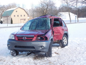 A woman died Thursday, Feb. 2, 2017, when the car she lost control of the car she was driving and hit a tree on Meddler, in Spencer Township. Post photo by J. Reed.