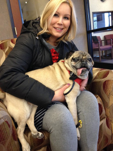 "Hospice of Michigan volunteer Pierrette Templeton and her pug, Biwi, bring comfort and enjoyment to patients and families during a very difficult time. Templeton, who makes visits through the nonprofit's pet therapy program, credits volunteering with ""anchoring"" her emotionally and spiritually."