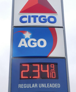Gas in Cedar Springs was $2.34 on Wednesday, February 15. Photo by J. Reed.