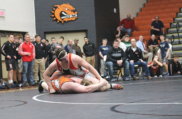 Senior heavyweight Patrick Depiazza, who is ranked #2 in the state, wrestled the #1 ranked wrestler in the state, Chase Beard, of Allegan, at regionals last week.