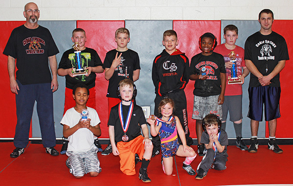 CS youth wrestlers with their trophies and medals. Photo by J. Troupe.