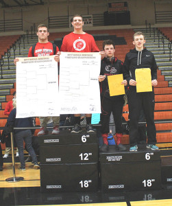 These four Cedar Springs Varsity wrestlers will be heading to the state finals for the second year in a row. From left to right: Ryan Ringler, Patrick Depiazza, Lucus Pienton, and Jordan Ringler. Photo by B. Chong.