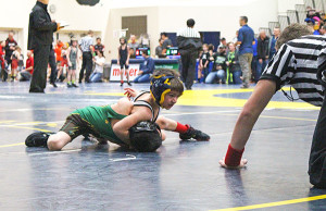 WMP wrestler Aaiden Vasquez who bumped up a weight class in order to have some mat time. Photo by B. Chong.