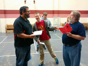 Local theater group rehearses latest production which opens at the Kent next Friday night.