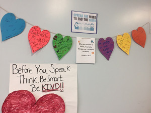 The Kindness Hearts are displayed in the elementary building as a visual reminder to use kind words.