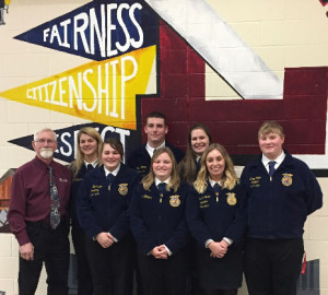 The Cedar Springs FFA Group that competed at the regional level. Pictured from L to R:  Mr. Reyburn, Kaitlin Rounds, Diane Howe, Evan Young, Mykenzie Gage, Cecelia Brandt, Madison Strain, and Tanner Anderson.