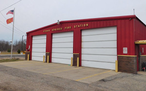 The current Cedar Springs Fire Station, at W. Maple and Second Street. Photo by J. Reed.
