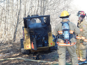 a Kent County Road Commission bobcat caught fire in the median of US131.