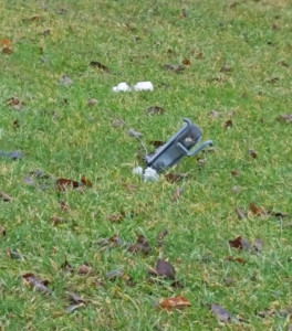 A piece of transformer on the ground after the lightning strike. Courtesy photo.
