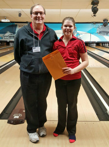 Sophomore Sarah Galloway qualified for individual bowlers at state. Here she is shown with one of her coaches, Dave Arbanas.