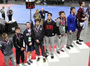 Sophomore Lucas Pienton finished third in the state in the 145lb weight class.