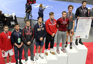 Sophomore Ryan Ringler finished third in the state in the 171lb weight class. He also earned his 100th career win at state.