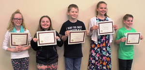 Pictured are the Cedar Springs Rotary 4-Way Test essay winners. From L to R: Sally Odren, Makenna Nichols, Jack Cairy, Analiese Van Harten, and Josh Trendt. Courtesy photo.
