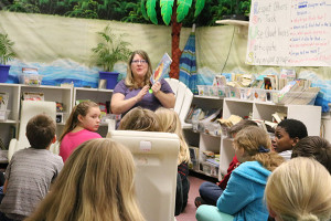Board of Education member, Vanderhyde, was a guest reader at Red Hawk during March is Reading Month.