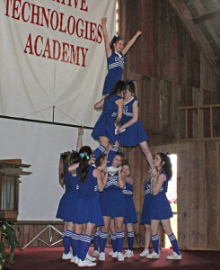 The CTA Cheer Team performed a routine with fantastic stunts!