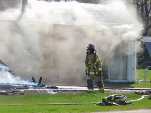 Firefighters were on the scene for four hours Monday at this fire on 17 Mile Rd in Tyrone Township.