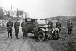 Troopers with patrol vehicle in Upper Peninsula in 1922.