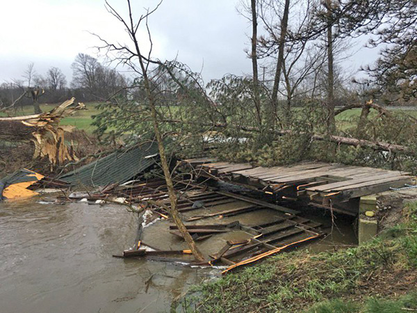 This covered bridge at Tyler Creek in Bowne Township sustained damage from Monday night's tornado. It was built in 1955. Photo from Woodtv.com.