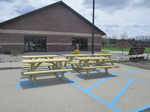 Five new picnic tables were donated anonymously to Solon Township for Velzy Park. Courtesy photo. A new walking trail is under construction at Solon's Velzy Park. Courtesy photo.