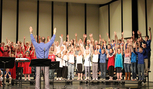 Upper elementary students incorporate motions into their songs