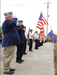The Ceremony started with the American Legion Color Guard Glen Hill Post 287 raising the American flag and the State of Michigan Flag on the new flagpoles in front of the Library