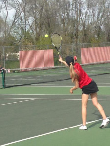 Number 1 singles Emilee Pastoor during her match with Ottawa Hills. Emily won 6-0 6-0.