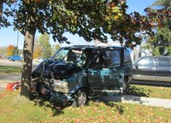 Man injured when car hits tree