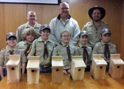 Cub scouts donate birdhouses to city