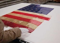 Civil War battle flags on display