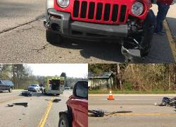 Man crashes motorcycle, breaks legs