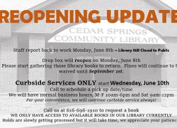 Cedar Springs Library launches reading program