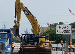 Road closed for drain work
